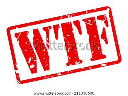 WTF red stamp text on white - stock vector