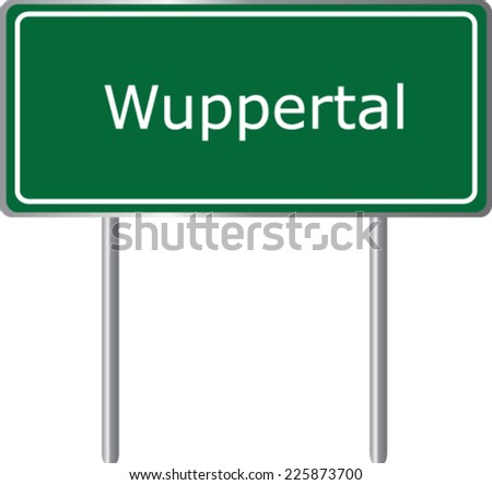 Wuppertal, Germany, road sign green vector illustration, road table - stock vector