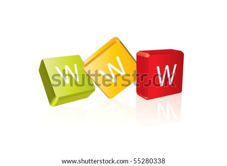 WWW (cube letters in editable vector format) - stock vector