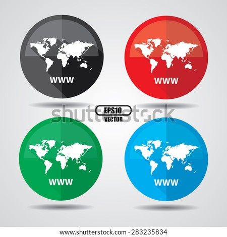 Www icon, Internet sign icon. World wide web symbol, Business and social media networking service concept on a white background. Vector illustration - stock vector