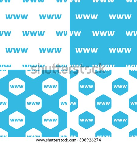 WWW patterns set, simple and hexagonal, blue and white - stock vector