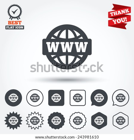WWW sign icon. World wide web symbol. Globe. Circle, star, speech bubble and square buttons. Award medal with check mark. Thank you. Vector - stock vector