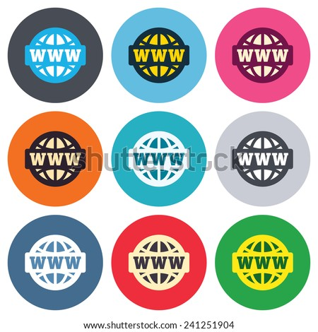 WWW sign icon. World wide web symbol. Globe. Colored round buttons. Flat design circle icons set. Vector - stock vector