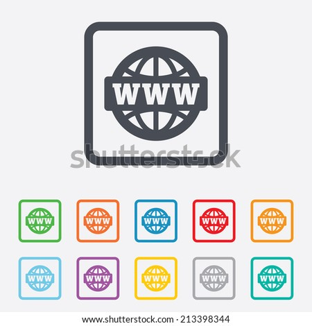 WWW sign icon. World wide web symbol. Globe. Round squares buttons with frame. Vector - stock vector