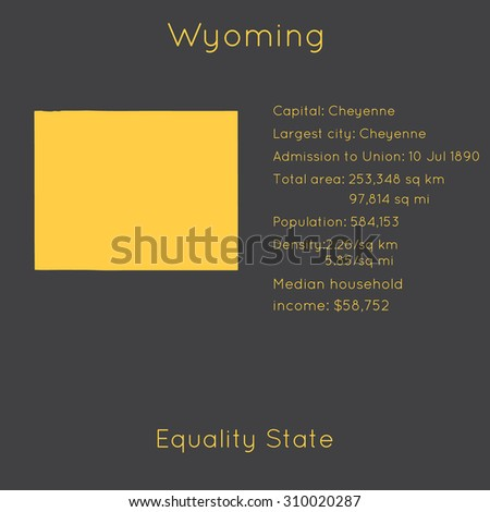 Wyoming template with main information and map. Simple modern flat style. Vector EPS8