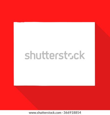 Wyoming white map,border flat simple style with long shadow on red background