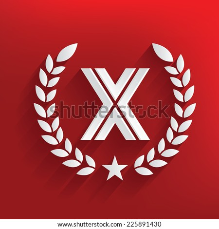 X concept on red background,clean vector - stock vector