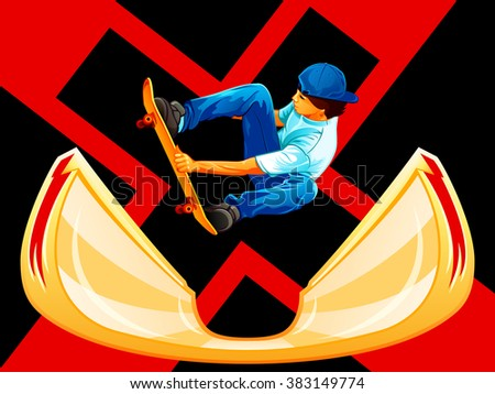 X-games poster with a skateboarder over ramp - stock vector