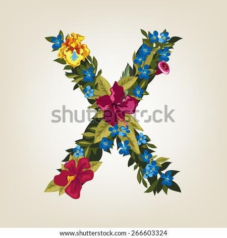 X letter. Flower capital alphabet. Colorful font. Uppercase.  Vector illustration. - stock vector
