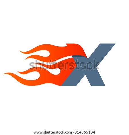 X letter logo design template. Fast fire speed vector unusual letter. Vector design template elements for your application or company. - stock vector