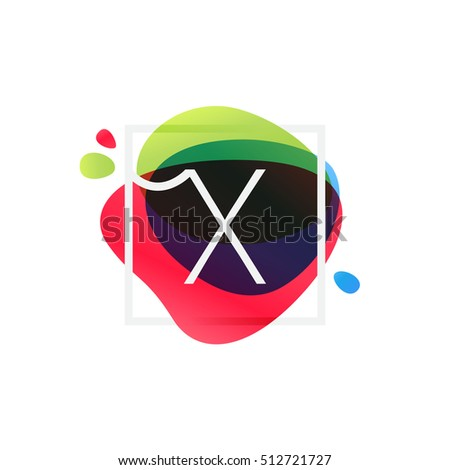 X letter logo in square frame at multicolor splash background. Vector watercolor elements for posters, t-shirts and cards.