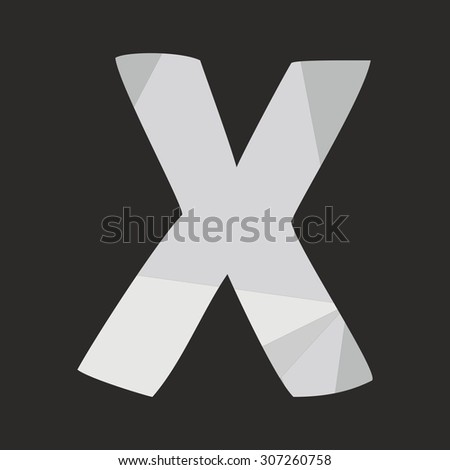 X low poly hand drawn wrapping surface alphabet letter isolated on black background vector illustration - stock vector