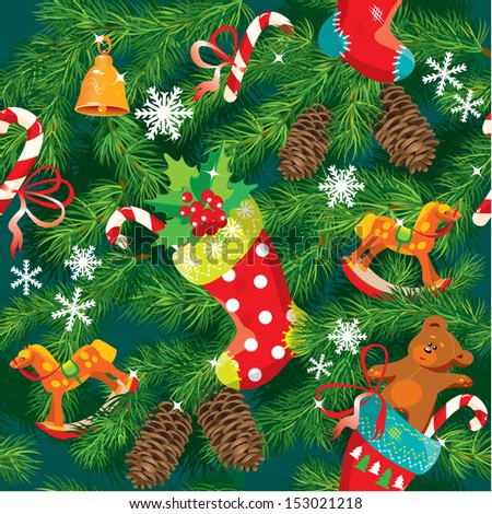 X-mas and New Year background with Christmas accessories, stockings, sweets, horse and teddy bear toys and fir tree branches. Seamless pattern for holiday design.  - stock vector