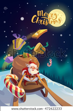 X-mas Card. Happy Santa with the bunch of presents riding on a sleigh at the winter forest. Polar Lights and moon at the background. Winter snowflakes. Merry Christmas Lettering.