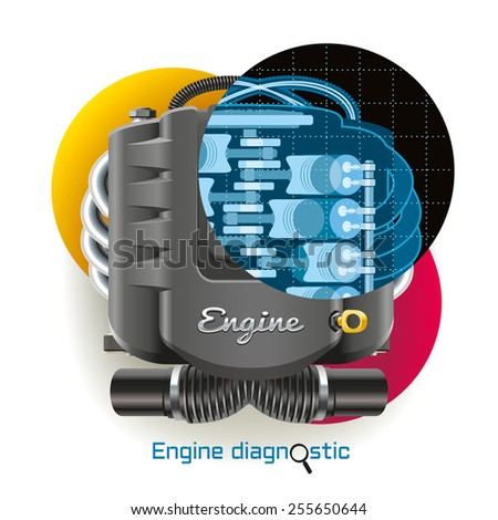 X-ray diagnostics of internal combustion engine of the vehicle - stock vector