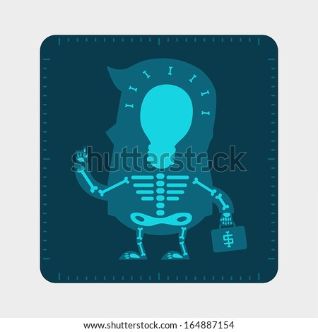 X-ray film of young businessman body, Business concept - stock vector