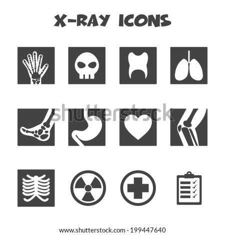x-ray icons, mono vector symbols - stock vector