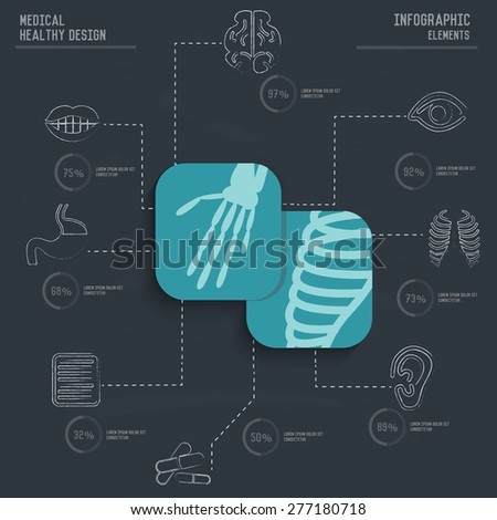 X-ray,Medical infographic design on old paper background,clean vector - stock vector