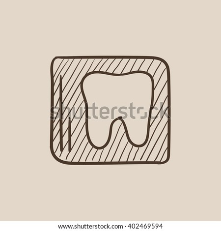X-ray of tooth sketch icon. - stock vector