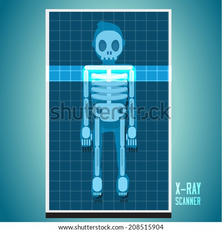 x-ray scanning on human body. skeleton - vector illustration - stock vector