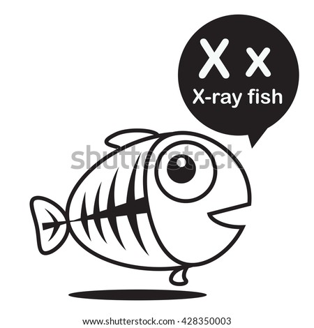 X Ray Fish Animal Cartoon And Alphabet For Children To Learning Coloring Page