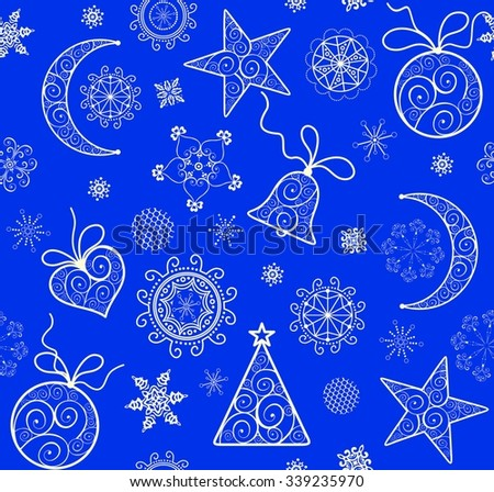 Xmas blue wallpaper with vintage golden pattern - stock vector
