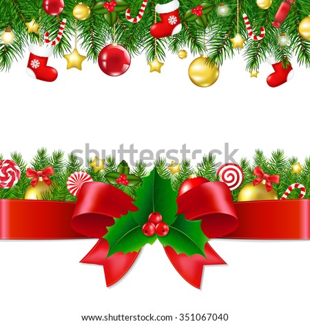 Xmas Borders With Gradient Mesh, Vector illustration - stock vector