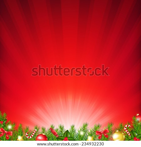 Xmas Card With Fir Tree With Gradient Mesh, Vector Illustration - stock vector