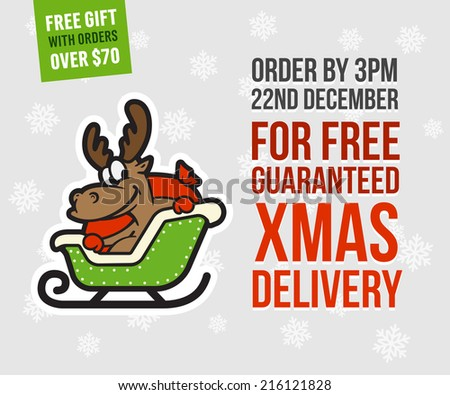 Xmas delivery banner concept with cute cartoon reindeer Rudolph - stock vector