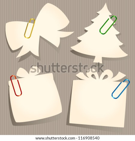 xmas elements old paper notes - stock vector