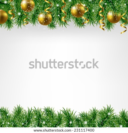 Xmas Fir Tree Border With Colden Balls With Gradient Mesh, Vector Illustration - stock vector