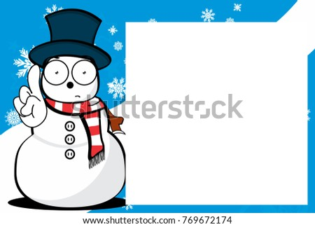 xmas funny snow man cartoon expression picture frame background in vector format