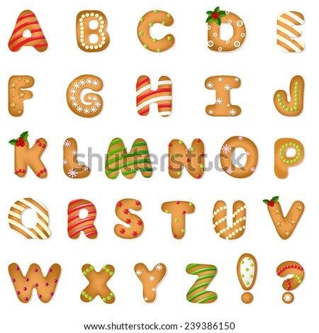 Xmas Gingerbread Cookie Alphabet With Gradient Mesh, Vector Illustration - stock vector