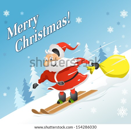 XMas Greeting Card. Funny Christmas Poster: Santa Claus with Gifts on Skis. New Year Vector Illustration - stock vector