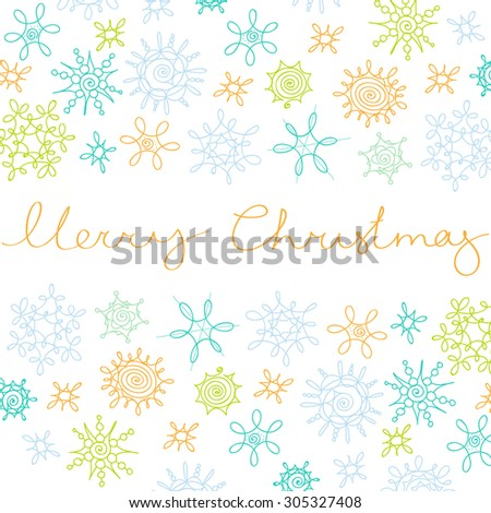 Xmas greeting card with new year decoration, snowflakes and hand written merry christmas sign. - stock vector
