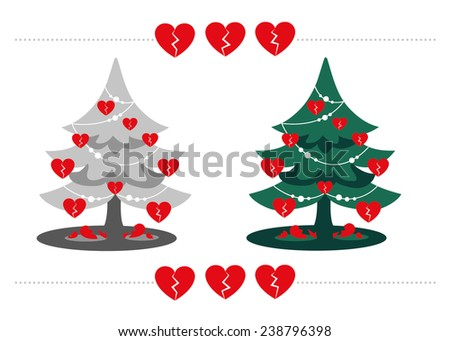 Xmas Heartbreak: a set of gray and green Christmas Trees with red broken heart shaped baubles and shattered hearts on the floor. Hard times on Winter Holidays due to a breakup or troubles. Drawing - stock vector