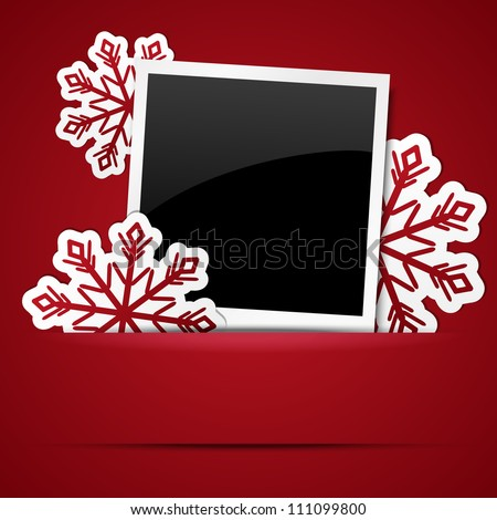 Xmas photo frame with snowflakes - stock vector