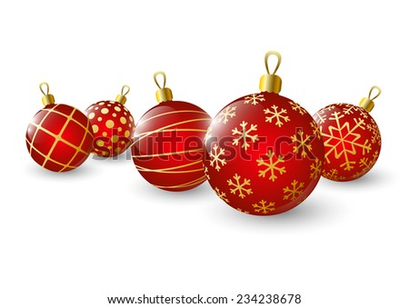Xmas red balls on white background