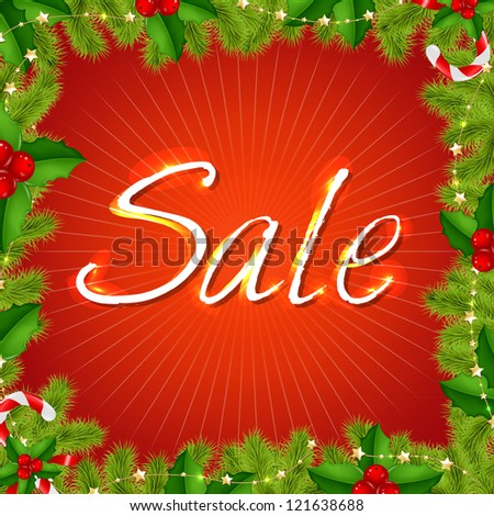 Xmas Sale Poster Isolated On Red Background, Vector Illustration - stock vector