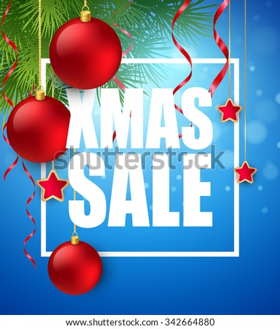 Xmas sale poster with cristmas decoration. Vector illustration EPS10 - stock vector
