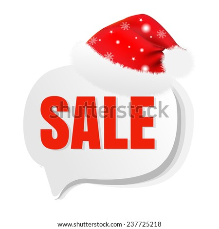 Xmas Sale Speech Bubble With Santa Hat With Gradient Mesh, Vector Illustration - stock vector
