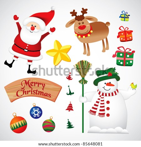 Xmas set - stock vector