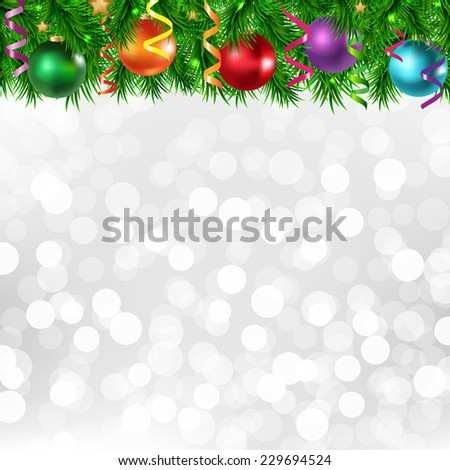Xmas Silver Poster With Xmas Border With Gradient Mesh, Vector Illustration - stock vector