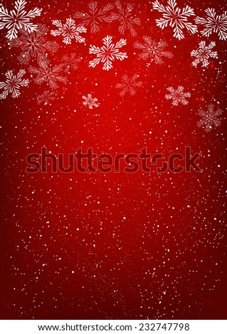 Xmas snowflakes on red background