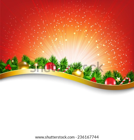 Xmas Sunburst Red Poster With Gradient Mesh, Vector Illustration - stock vector