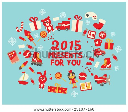 xmas toys icons set, cartoon flat style character, vector illustration.