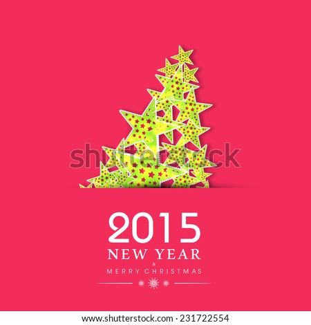 Xmas tree made be Mistletoe on pink background for Merry Christmas and Happy New Year 2015 celebrations.  - stock vector