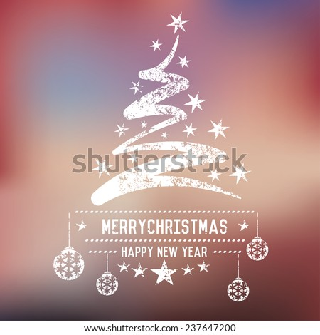 Xmas tree on blur background,clean vector - stock vector