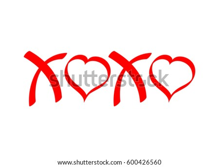 XOXO, hugs and kisses, calligraphy symbols, poster design template, vector illustration