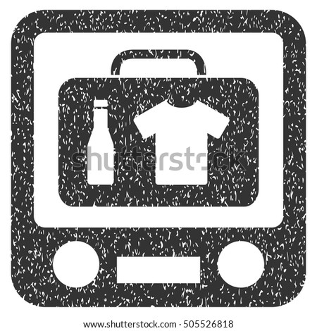 Xray Screening rubber seal stamp watermark. Icon symbol inside rounded rectangular frame with grunge design and scratched texture. Unclean vector gray ink sticker on a white background.